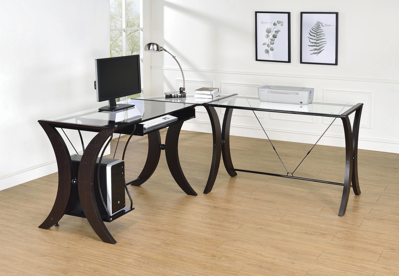 Orren Ellis Galiena Glass L Shape Desk Wayfair
