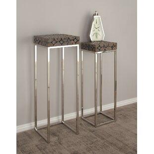 2 Piece Pedestal End Table
