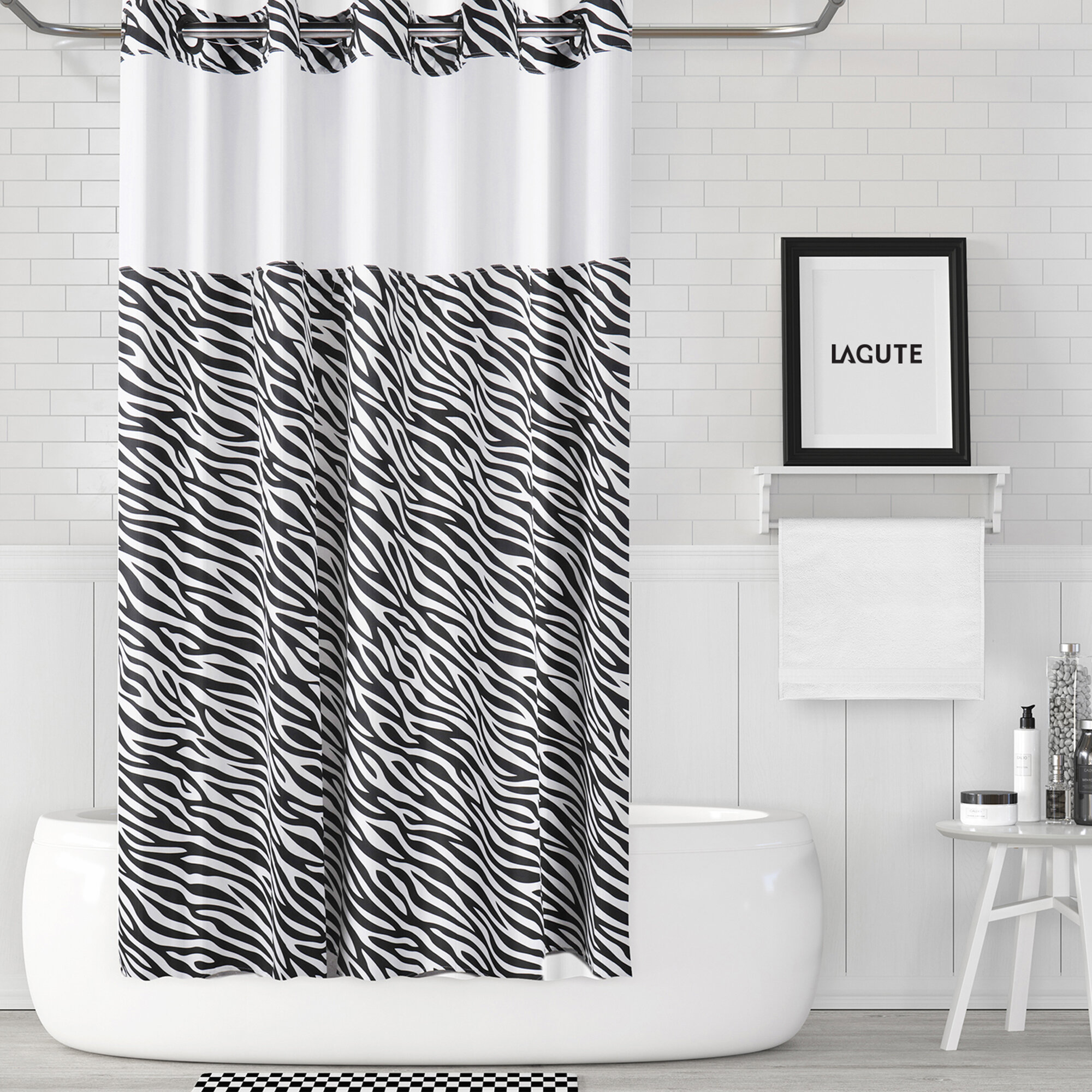 1 Pc Waterproof Two-Zebra Shower Curtain for Home and Bathroom
