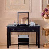 Schloss Dressing Vanity Set with Stool and Mirror by Latitude Run®