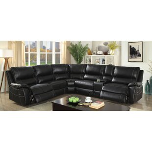 Red Barrel Studio Dineen Leather Reclining Sectional