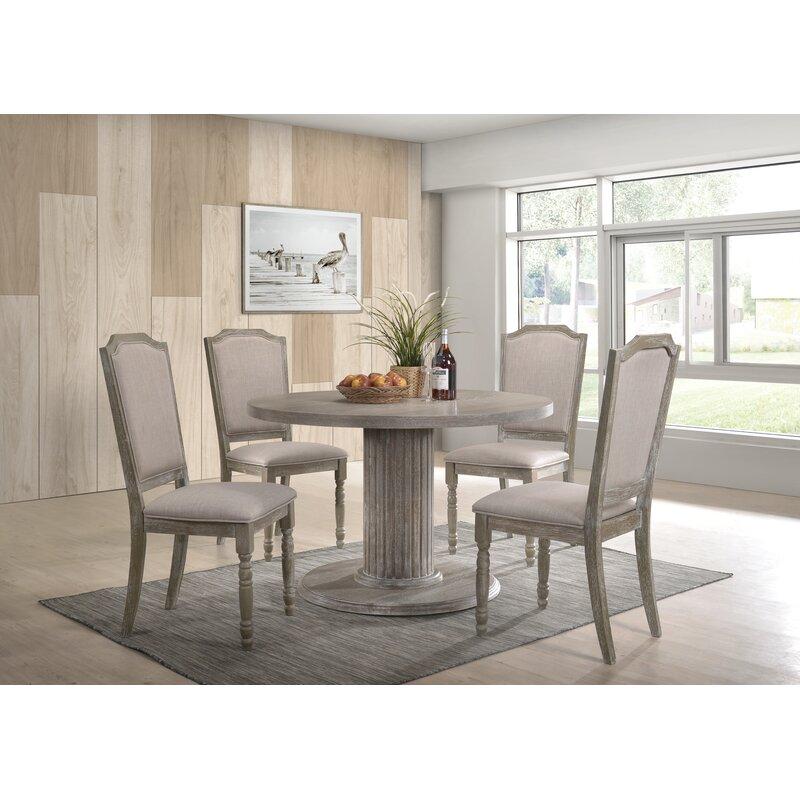 One Allium Way Maxon Wood Pedestal Dining Table Set In Reclaimed Grey Reviews Wayfair Ca