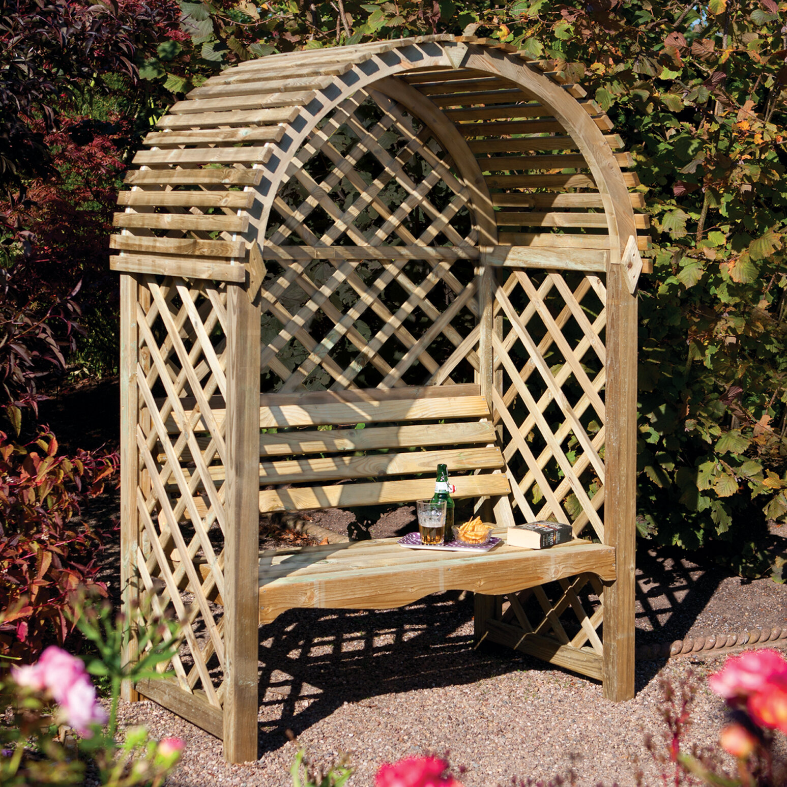 Terrific Rowlinson Victoria Timber Wood Arbor With Bench Reviews Machost Co Dining Chair Design Ideas Machostcouk