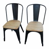 Chillicothe Metal Slat Back Stacking Side Chair (Set of 2) by Williston Forge