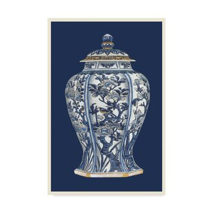 Blue And White Porcelain Vase I Graphic Art Print On Wred Canvas