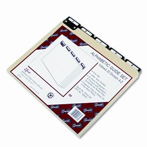 Pressboard Alpha Recycled Top Tab File Guides, 1/5 Tab, Letter, 25/Set