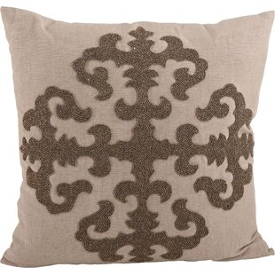 Ingrid Beaded Medallion Design Throw Pillow