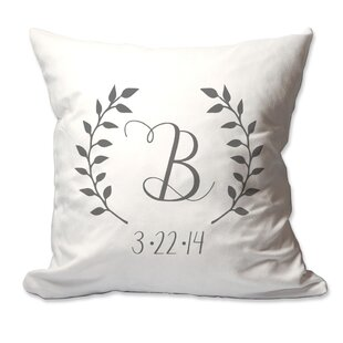 Personalized Initial and Date Laurel Wreath Throw Pillow