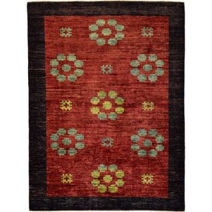 Order One-of-a-Kind Nash Hand-Knotted  4'11 x 6'6 Wool Burgundy/Black Area Rug By Isabelline