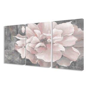 u0027pastel pink peonyu0027 3 piece painting print set on wrapped canvas u0027