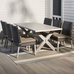 grey outdoor dining set elegant hebron piece dining set with cushion gray patio sets youll love wayfair