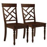 Remillard Solid Wood Cross Back Side Chair in Brown (Set of 2) by Alcott Hill®