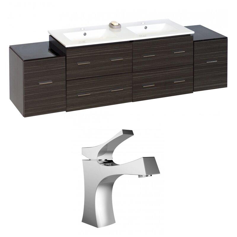 Orren Ellis Kyra 76 Solid Wood Double Bathroom Vanity Set Wayfair