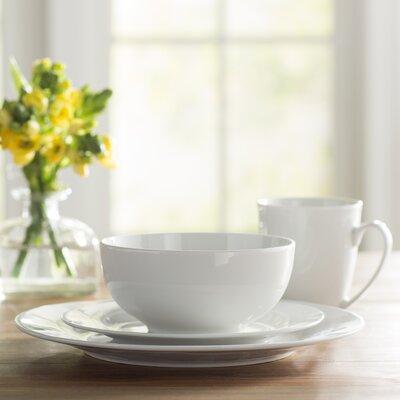 Wayfair Basics 16 Piece Porcelain Dinnerware Set Service for 4 & Noritake Marc Newson Bone China 20 Piece Dinnerware Set Service for ...