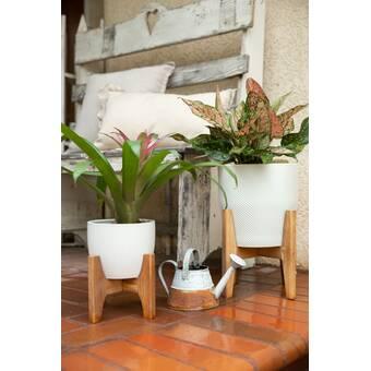 World Menagerie Wroten 2 Piece Fiberglass Pot Planter Set Wayfair