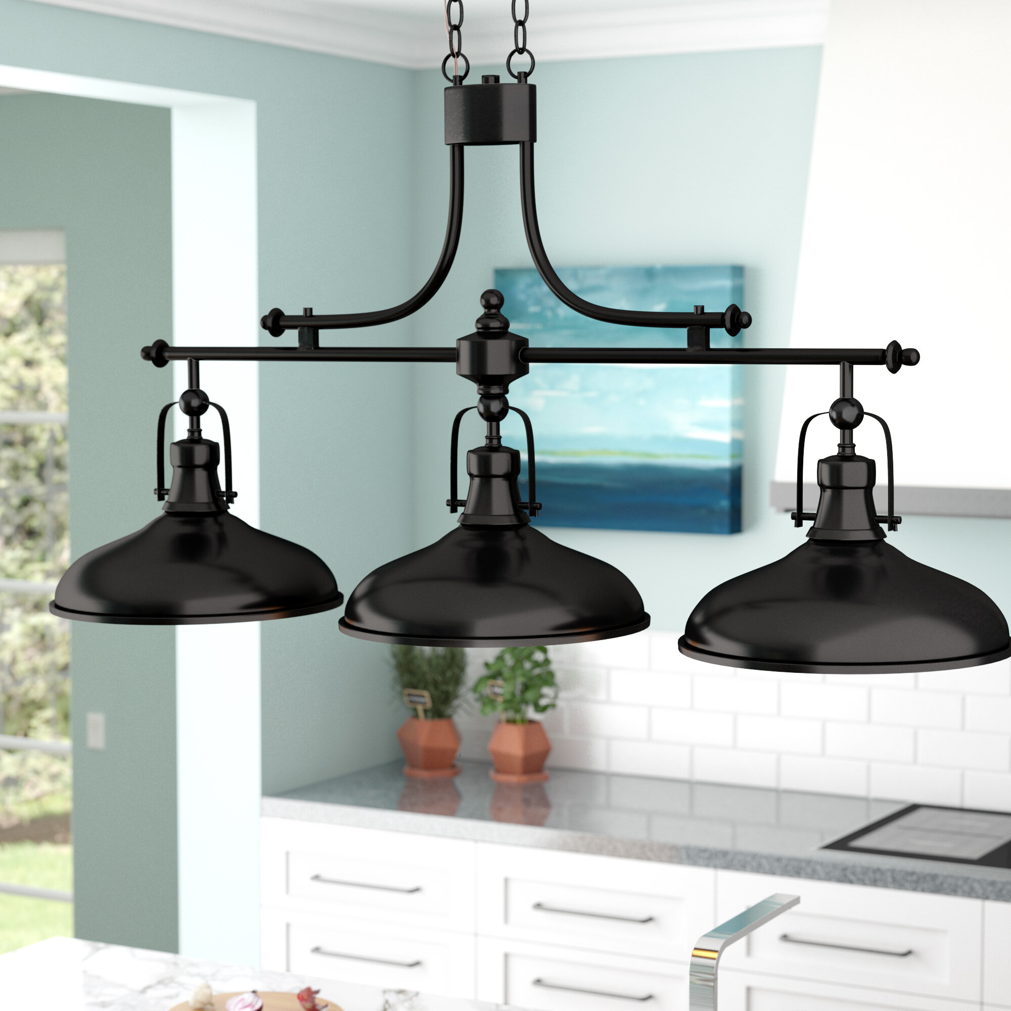 Beachcrest Home Martinique 3-Light Kitchen Island Pendant & Reviews ...