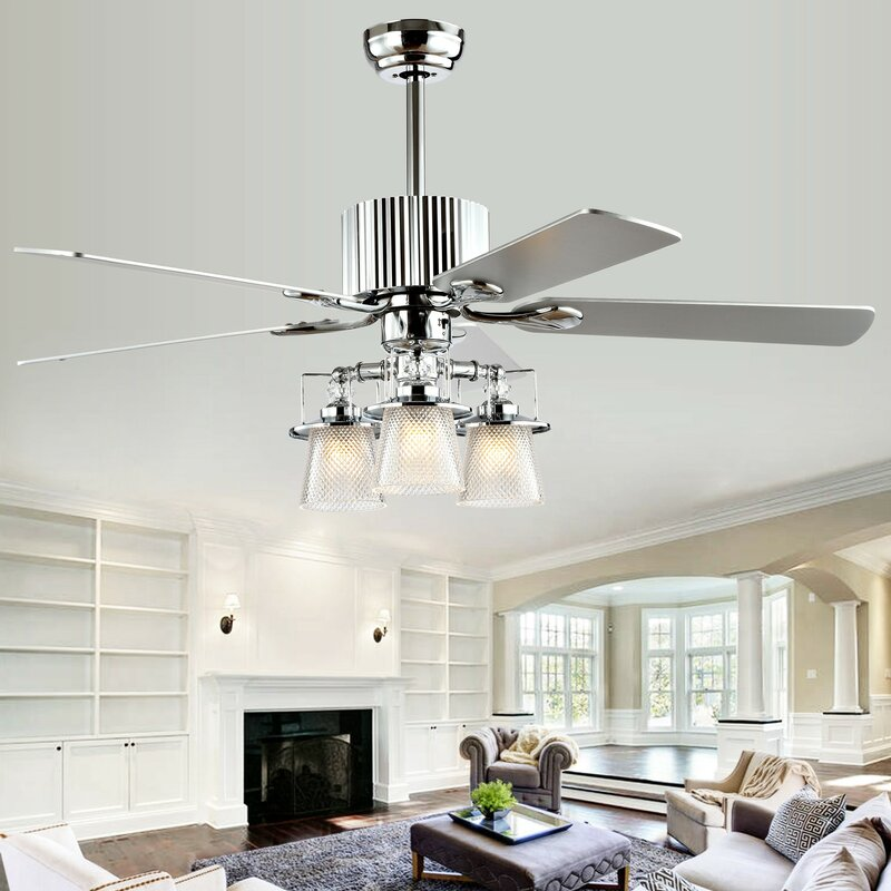 Rosdorf Park Childers 5 Blade Crystal Ceiling Fan With Remote Control And Light Kit Included Reviews Wayfair