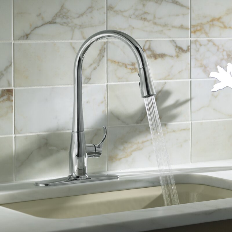 Kohler Simplice Pull-Down Single Handle Kitchen Faucet with Sweep Spray and DockNetik®