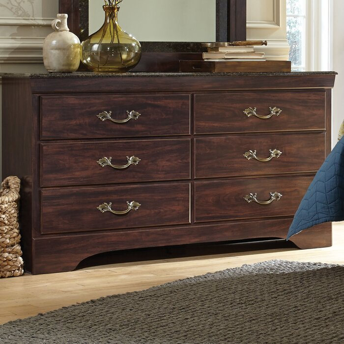 Budde Solid Wood 6 Drawer Double Dresser With Mirror