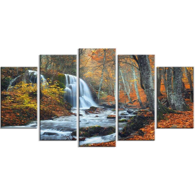 Waterfall Wall Art designart 'autumn mountain waterfall' 5 piece wall art on wrapped