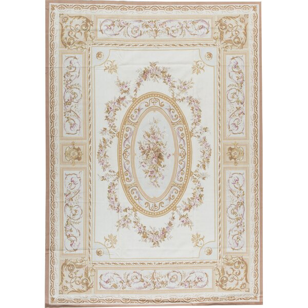 Bokara Rug Co Inc Aubusson Hand Knotted Wool Beige Ivory Rug Wayfair