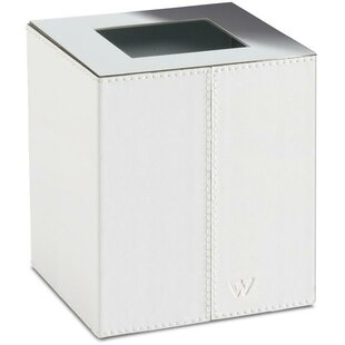 AGM Home Store Box Kenia Square Top Bath Brass/Leather Open Waste Basket