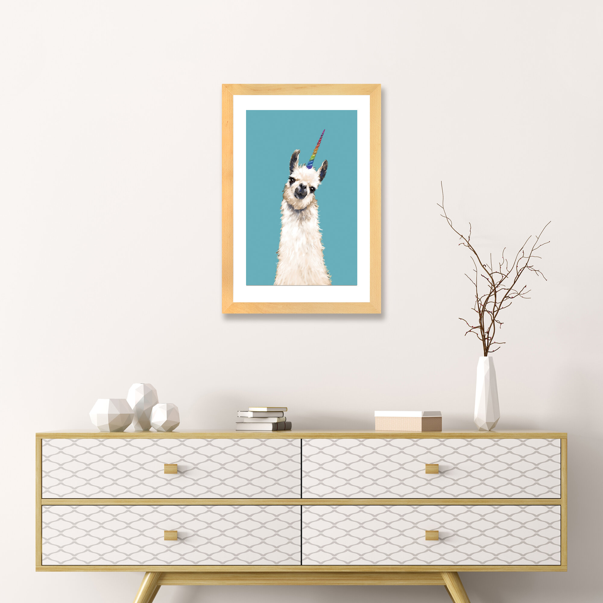 East Urban Home Unicorn Llama Art Wayfair