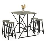 Ebern Designs 5-Piece Drop Leaf Pub Dining Table Set, Folding High Table With 4 Round Bar Stools For Kitchen Dining Room Coffee Breakfast by Ebern Designs