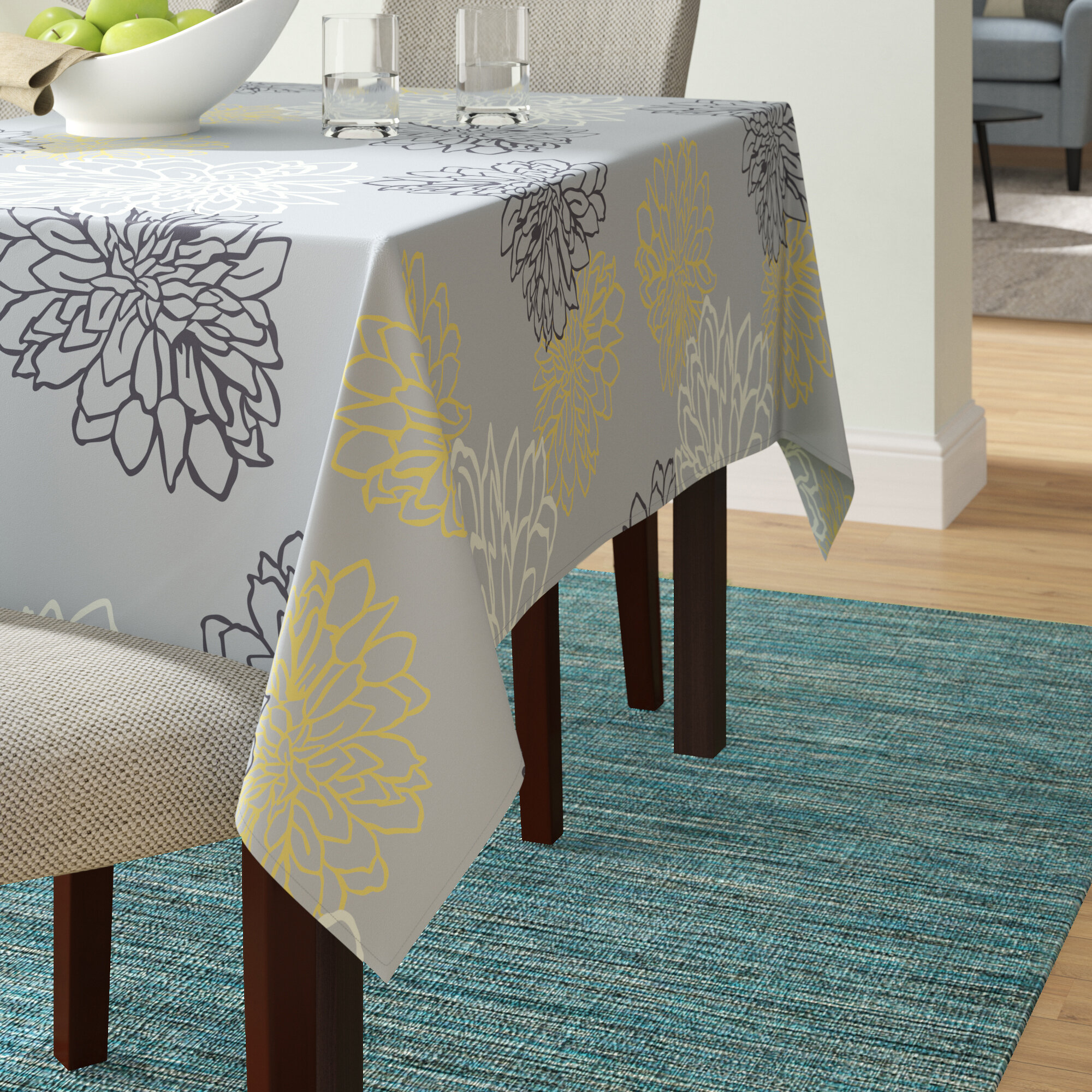 """White Egyptian Cotton Ivy Leaf Christmas Damask Tablecloth 53/"""" x 53/"""" Square"""