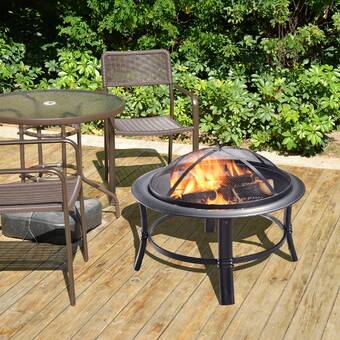 Magnificent Pleasant Hearth Palmetto Steel Wood Fire Pit Reviews Wayfair Download Free Architecture Designs Lectubocepmadebymaigaardcom