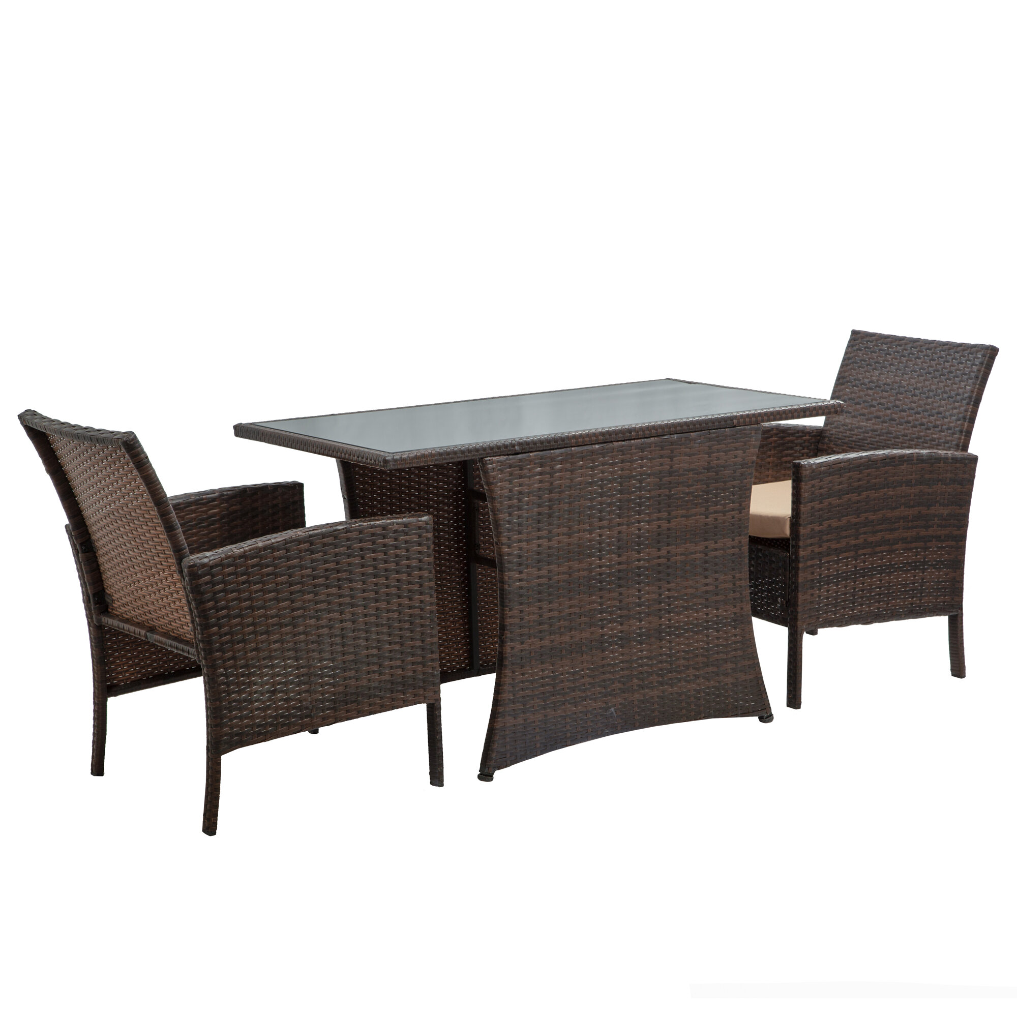 Bayou Breeze Mccollom 3 Pieces Patio Furniture Dining Set All