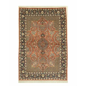 Agra Hand-Knotted Rust Area Rug