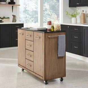Kutsi Kitchen Cart with Granite Top by Gracie Oaks