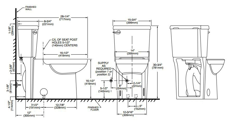 round front toilet dimensions. Cadet 3 Right Height 1 28 GPF Round Two Piece Toilet American Standard