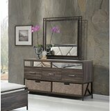 South Ferry 5 Drawer Double Dresser with Mirror by Union Rustic