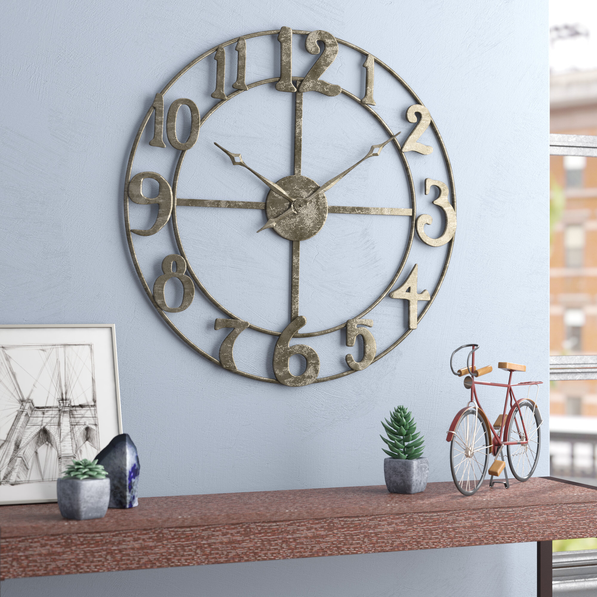 T Austin Design Oversized Augustine 32 25 Wall Clock Reviews Wayfair