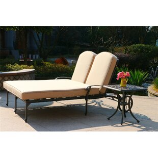 Barbosa Double Reclining Chaise Lounge with Cushion and Table