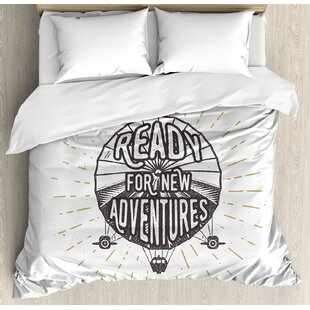 East Urban Home Quote Inspirational 'Ready for New Adventures' Motivational Lettering on Balloon Duvet Set