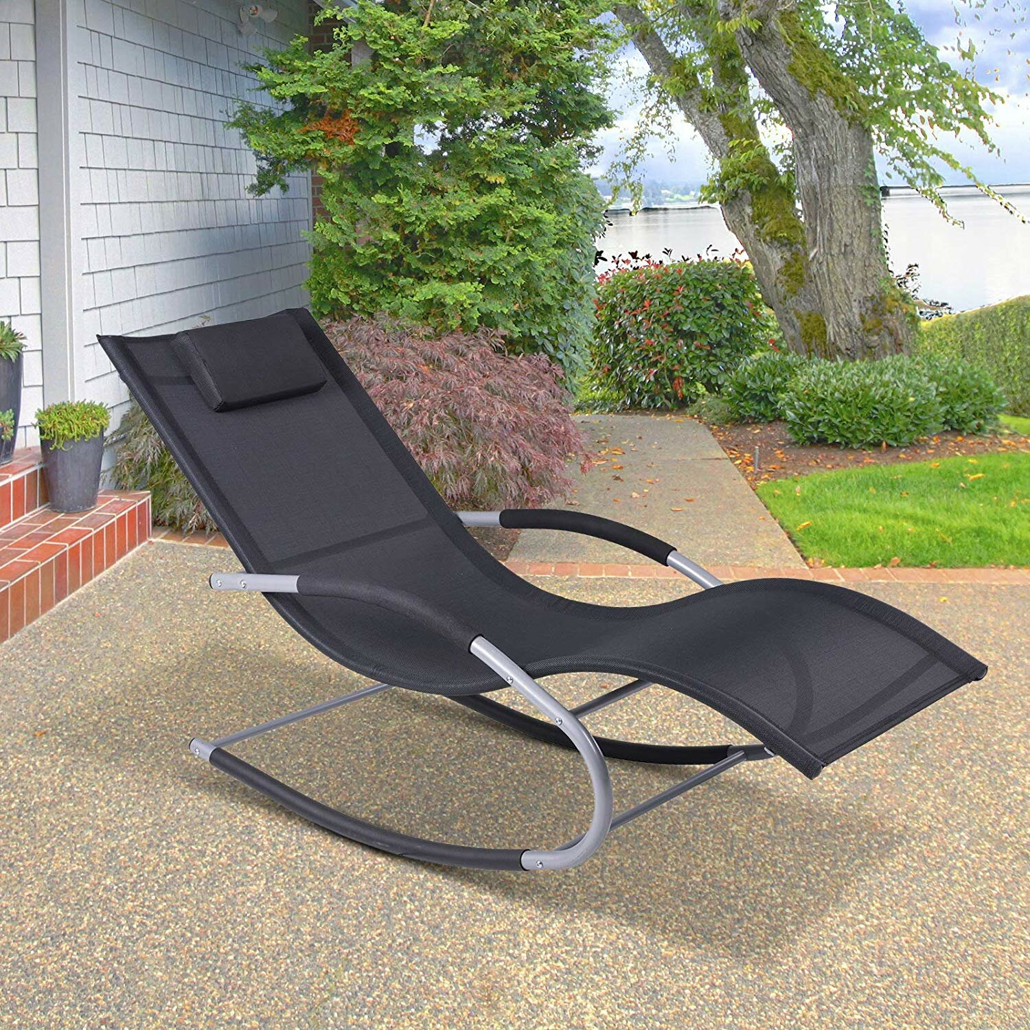 Picture of: Bay Isle Home Shane Outdoor Poolside Wave Rocker Reclining Zero Gravity Chair Reviews Wayfair