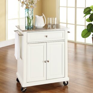 Charlton Home Thorpe Kitchen Cart with Stainless Steel Top