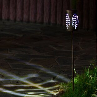 Winsome House Metal Leaves Solar 1-Light Pathway Light