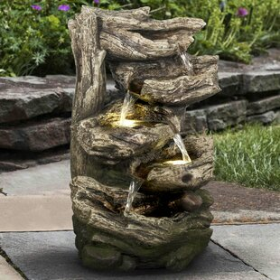 Hi-Line Gift Ltd. Polyresin Multi Level Branches Fountain with LED Light
