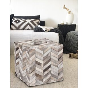 Broomsedge Handmade Chevron Cow Hide Square Pouf by Wrought Studio