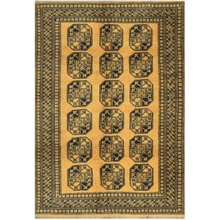 Affordable One-of-a-Kind Hand-Knotted Wool Gold/Black Area Rug By Bokara Rug Co., Inc.