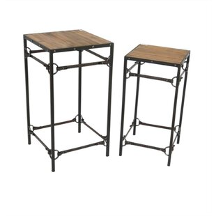 Auburn Wood and Metal 2 Piece Table Set by Gracie Oaks