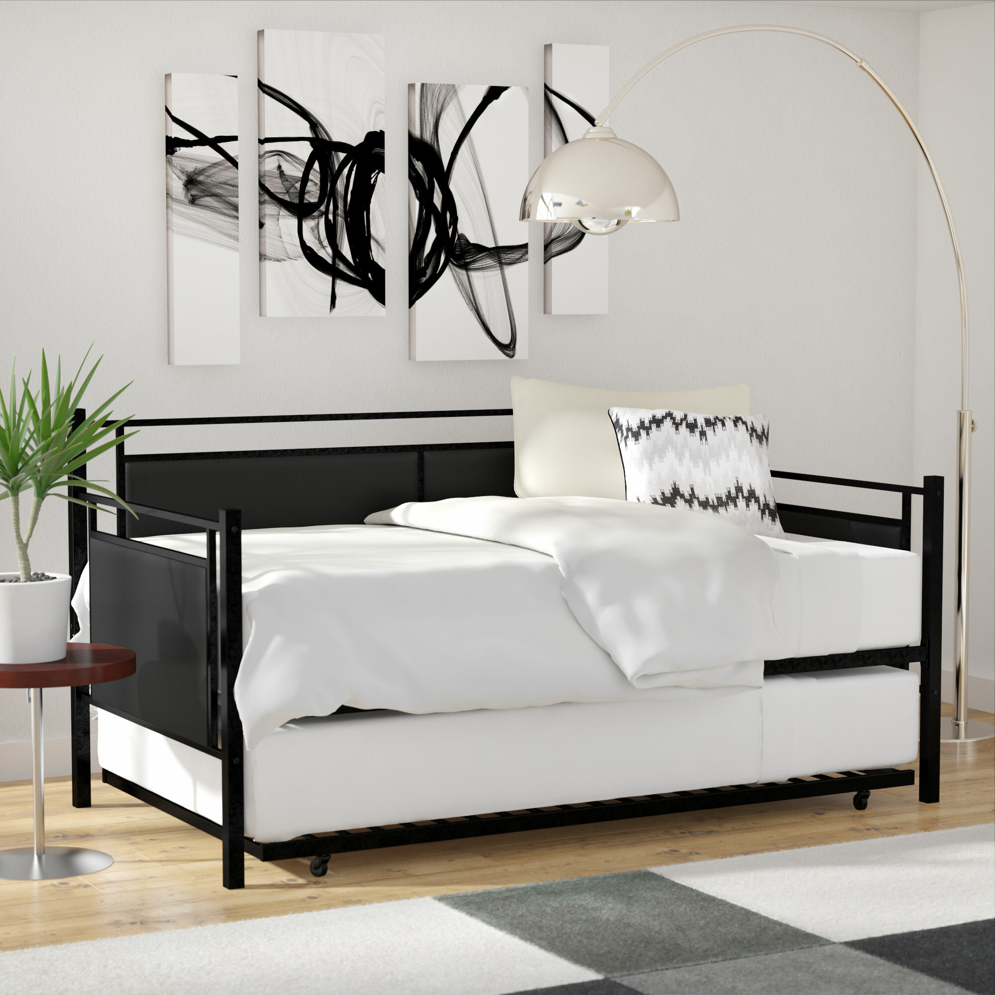 Wade Logan Callicoat Metal And Upholstered Twin Daybed With