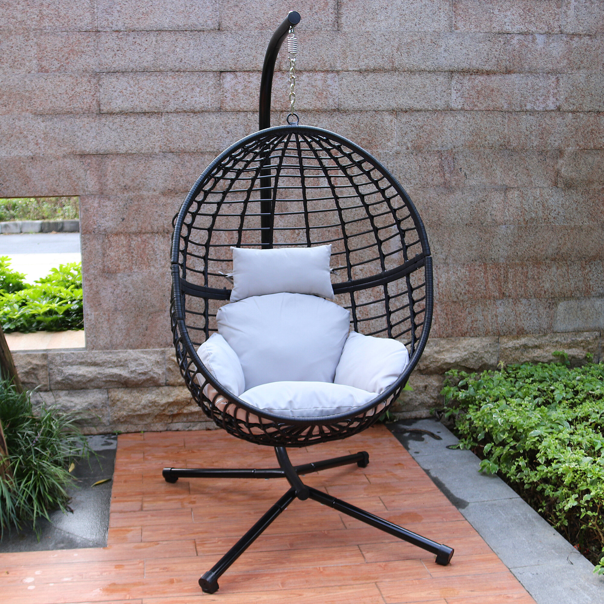 Beau Wolsingham Outdoor Wicker Hanging Basket Swing Chair With Stand