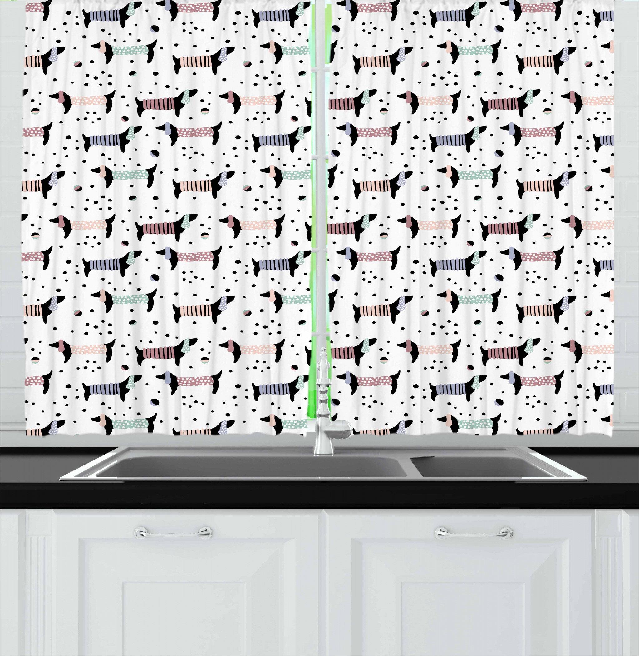 East Urban Home Dog Lover Kitchen Curtain Wayfair