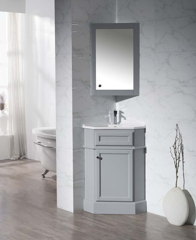rocher 265 single corner bathroom vanity set with mirror
