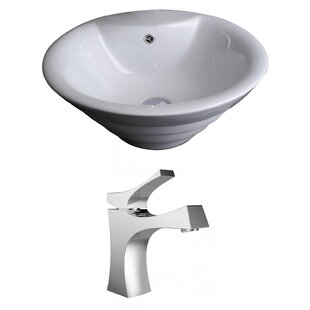 Read Reviews Ceramic Circular Vessel Bathroom Sink with Faucet and Overflow ByAmerican Imaginations